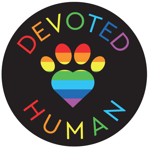 Round Rainbow Devoted Human Vinyl Sticker - black - Devoted Human