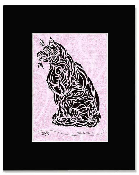 Sascha Bear - tribal kitty print with mat - Devoted Human