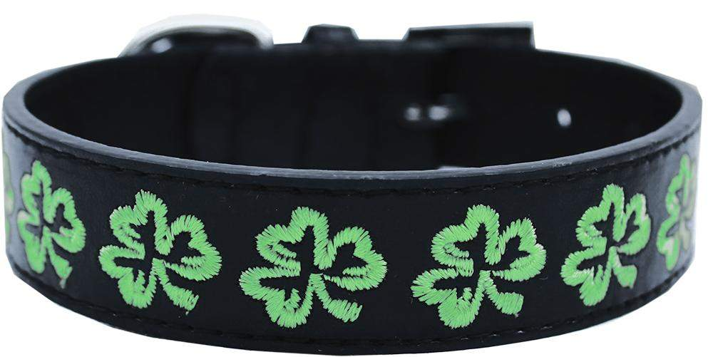 Luck o' the Irish Embroidered Dog Collar - black vegan collar with green clovers - Devoted Human