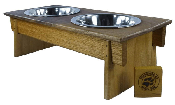 Small Dog Bowl Feeder - Asian-Inspired design - maple, mahogany, and walnut - Devoted Human