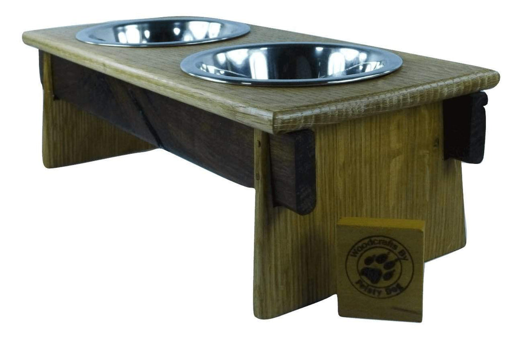 Small Dog Bowl Feeder - Asian-Inspired design - quarter-sawn white oak and walnut - Devoted Human