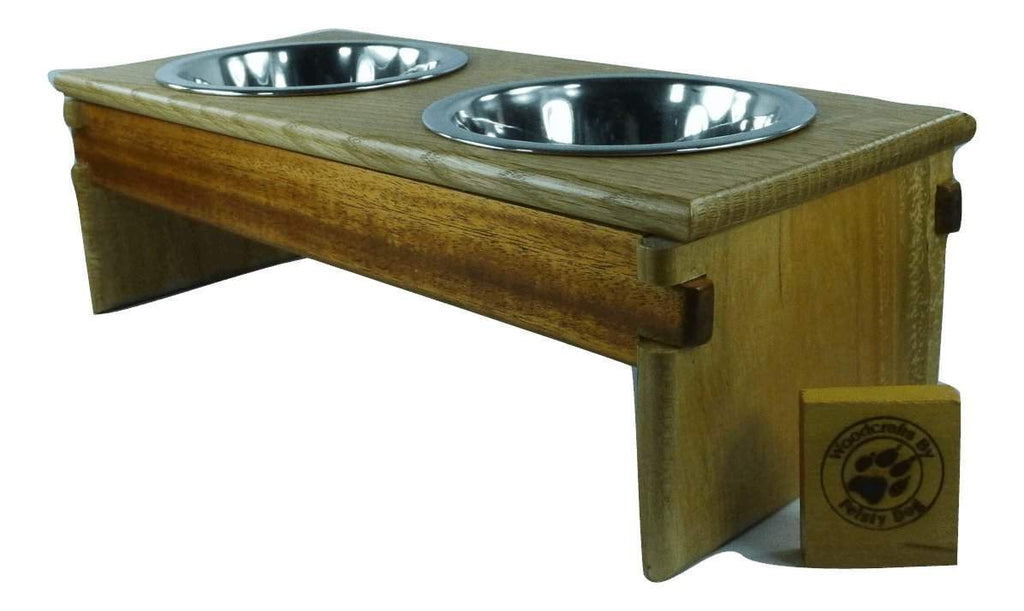 Small Dog Bowl Feeder - Greene & Greene style - maple, mahogany, and white oak - Devoted Human