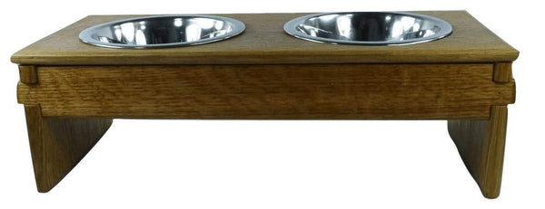 Small Dog Bowl Feeder - Greene & Greene style - white oak - Devoted Human