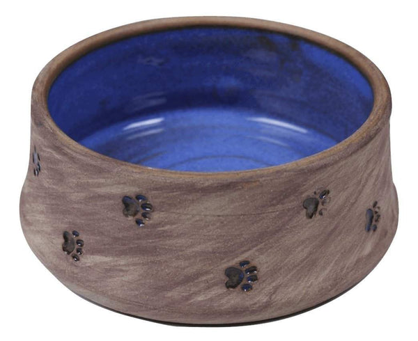 Small Dog Bowl/Large Cat Bowl with Paw Prints - blue interior - Devoted Human