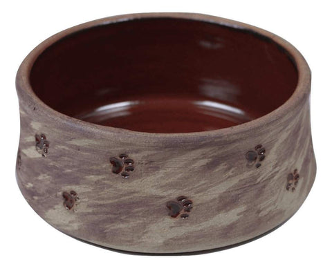 Small Dog Bowl/Large Cat Bowl with Paw Prints - red interior - Devoted Human