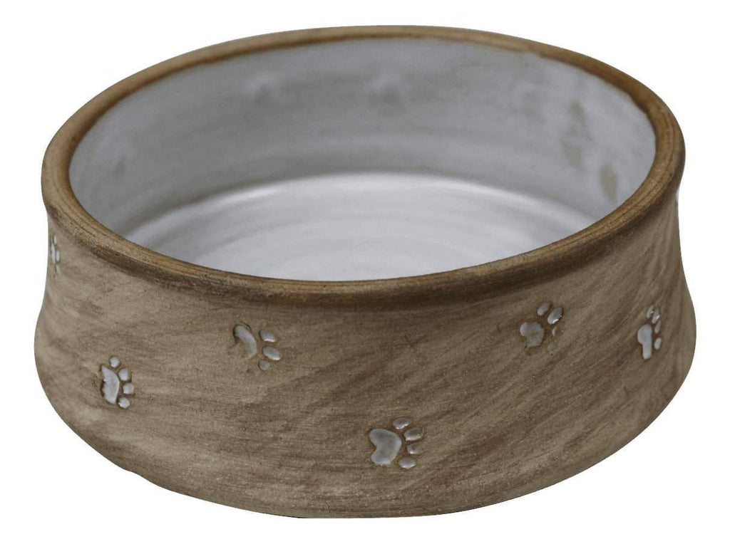 Small Dog Bowl/Large Cat Bowl with Paw Prints - white interior - Devoted Human