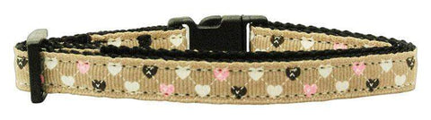 Tan Argyle with Hearts - Breakaway Cat Collar - Devoted Human
