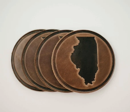 State of Illinois Leather Coasters