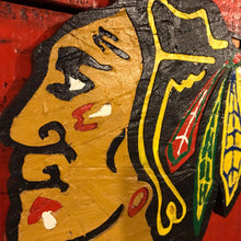 Reclaimed Wood Blackhawks Flag