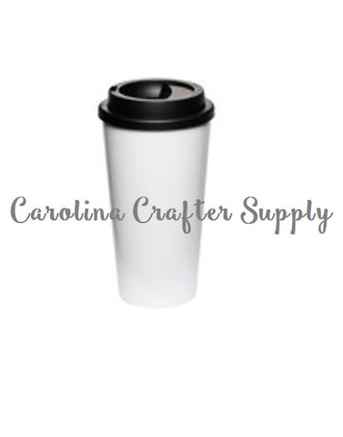 Set of 10 Coffee House-Style To-Go Tumblers - 16 Oz Double Wall White Starbucks Inspired Tumbler Screw On Lid Starbucks Coffee Cup, BPA-Free Starbucks Style Coffee Tumblers - Carolina Crafter Supply