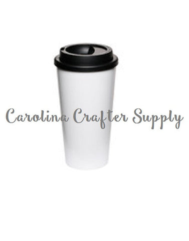Set of 4 Starbucks Style Tumblers - White with Black Lids - Coffee House-Style To-Go Tumblers - 16 Oz Double Wall White Starbucks Inspired Tumbler Screw On Lid Starbucks Coffee Cup, BPA-Free Starbucks Style Coffee Tumbler