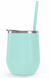 Wine Tumbler - 12 Oz Steel Wine Tumbler, Double Wall Stainless Tumbler with Lid & Straw