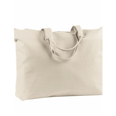 Zippered Canvas Tote Bag