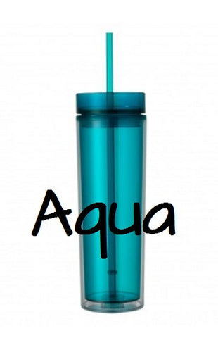 Acrylic Skinny Tumbler, Skinny Tumbler With Name, 16 oz Personalized Name Tumbler With Lid & Straw - Carolina Crafter Supply