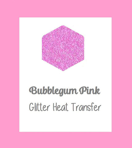 "Bubblegum Pink Glitter Heat Transfer Vinyl 12x20"" Sheets Glitter HTV Pink Glitter HTV, Light Pink Glitter htv - Carolina Crafter Supply"