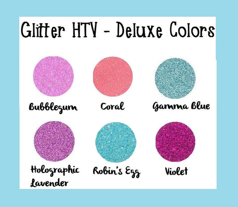 "Deluxe Colors Glitter Heat Transfer Vinyl T!ffany Blue Glitter htv 12x20"" Sheets Glitter HTV Coral Glitter HTV - Carolina Crafter Supply"