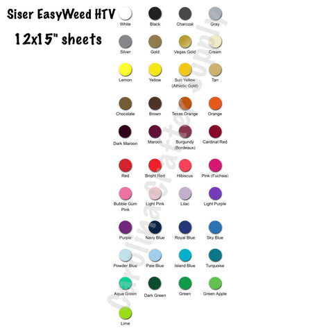 25 Sheet Pack Siser EasyWeed HTV Free Shipping! You Pick The Colors 12x15 Sheets Iron-On Vinyl Heat Transfer Vinyl - Carolina Crafter Supply