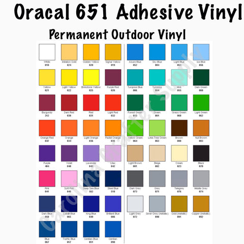 "20 Sheets Oracal 651 12x12"" Adhesive Vinyl Pick Your Colors! Decal Vinyl Gloss Vinyl Craft Vinyl Vinyl Sheets Metallic Colors Available - Carolina Crafter Supply"