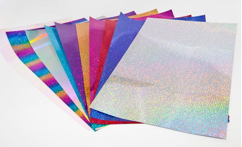 "Heat Transfer Vinyl - Holographic HTV 12x20"" Sheet Holo Heat Transfer Vinyl 18 Colors To Choose From Tshirt Vinyl Holograph HTV Holographic Sheets T-shirt Vinyl - Carolina Crafter Supply"