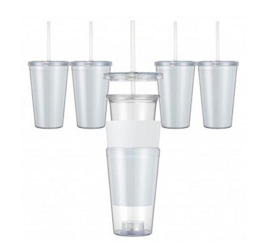 Set Of 4 Clear Insert Tumblers Paper Insert Acrylic Tumblers Double Wall 16 Oz BPA Free Clear Tumblers DIY Tumblers Personalized Tumblers