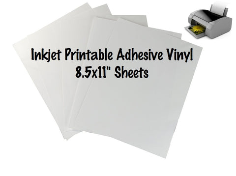 "1 Sheet Inkjet Printable Adhesive Vinyl 8.5x11"" Sheet Indoor Outdoor Permanent Adhesive Vinyl Print Your Own Vinyl Designs Printed Vinyl - Carolina Crafter Supply"