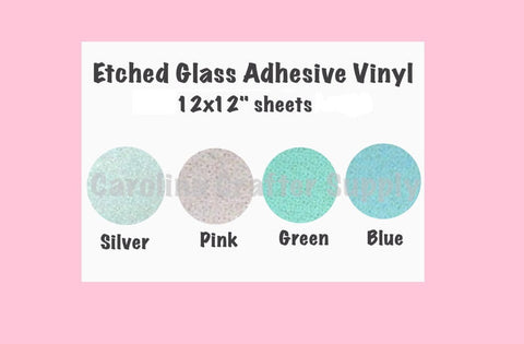"Etched Glass Adhesive Vinyl - 12x12"" Sheets Permanent Outdoor Vinyl Oracal 651 Equivalent 6+ Year Outdoor Life Span - Carolina Crafter Supply"