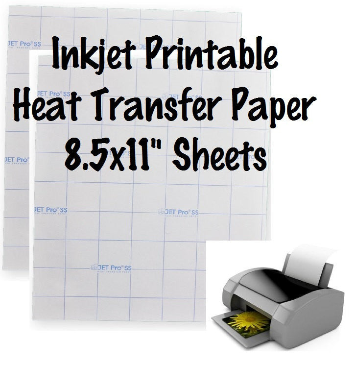 "1 Sheet Jet-Opaque Inkjet Transfer Paper Printable Heat Transfer Vinyl Printable HTV 8.5x11"" Sheets For Dark Fabric - Carolina Crafter Supply"