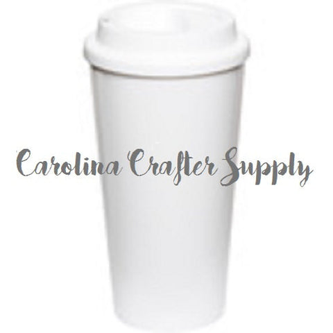 Coffee House-Style To-Go Tumblers - 16 Oz Double Wall White Starbucks Inspired Tumbler Screw On Lid Starbucks Coffee Cup, BPA-Free Starbucks Style Coffee Tumbler - Carolina Crafter Supply