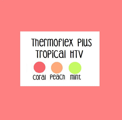 Heat Transfer Vinyl - Stretch HTV, Tropical HTV Colors, Thermoflex Plus Mint, Coral, Peach Heat Transfer Vinyl 12x15 Sheet, Choose Your Color Stretch HTV, T-Shirt Vinyl - Carolina Crafter Supply