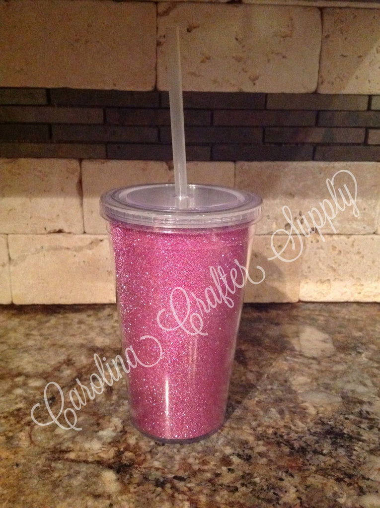 Glitter Tumbler, Double Wall BPA-Free Acrylic Glitter Tumbler, Glitter Insert Tumbler 16 oz - Carolina Crafter Supply