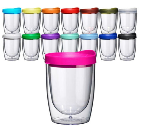 SOLD OUT!! Set Of 4 Stemless Wine Tumbler, 10 Oz Double Wall Tumbler With Lid, Kids Tumbler, BPA, Acrylic Tumbler With Lid, Wine Tumbler