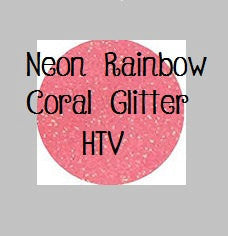 "Glitter Heat Transfer Vinyl - NEW Color!! Neon Rainbow Coral Glitter Heat Transfer Vinyl 12x20"" Sheets Glitter HTV Coral Glitter HTV - Carolina Crafter Supply"