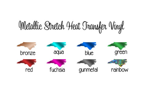 "Heat Transfer Vinyl Metallic HTV - Stretch Metallic HTV 12x14"" Sheets Metallic Heat Transfer Vinyl Pick Your Color! - Carolina Crafter Supply"