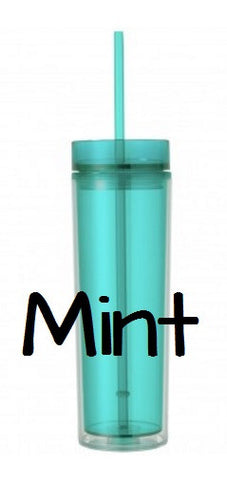 Mint Blank Skinny Tumbler 16 oz Double Wall BPA Free Acrylic Tumbler, Personalize Monogram Tumblers, Blank Tumblers - Carolina Crafter Supply