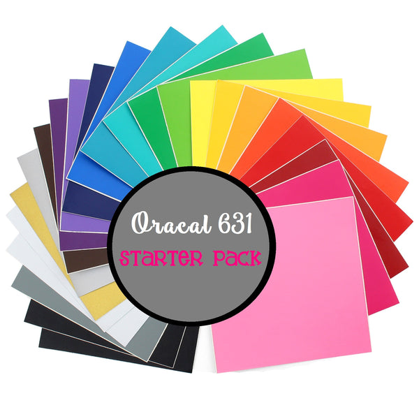 "Oracal 631 Vinyl Starter Pack - 5 12x12"" Sheets Oracal 631 Matte Removable Indoor Adhesive Vinyl - Carolina Crafter Supply"