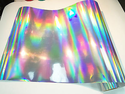 "Adhesive Vinyl - Silver Oil Slick Vinyl, Oil Slick Holographic Effect Adhesive Vinyl 12x12"" Sheets Permanent Vinyl Oracal 651 Equivalent Vinyl"