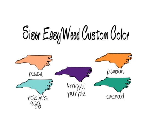 "Siser EasyWeed HTV Exclusive Colors Heat Transfer Vinyl 12x15"" Sheets Peach, Tennessee Orange, Robin's Egg Blue, Emerald, Bright Purple T-Shirt Iron-On Vinyl, Siser HTV"