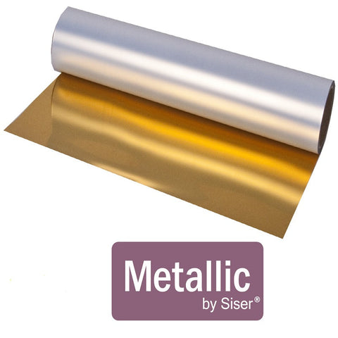 "Metallic Heat Transfer Vinyl - 12x14"" Sheet Siser Metallic HTV, Gold Metallic HTV, SIlver Metallic HTV, Gold Foil, Silver Foil Siser Heat Transfer Vinyl, Mirror htv - Carolina Crafter Supply"