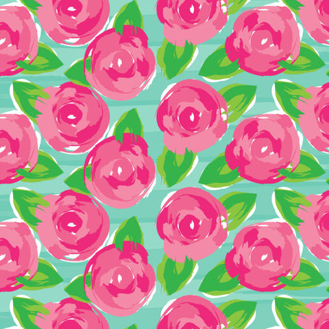 "Patterned HTV - Floral Patterned Heat Transfer Vinyl, Watercolor Roses Heat Transfer Vinyl, Patterned HTV With Transfer Mask Included! 12x12"" Sheet"