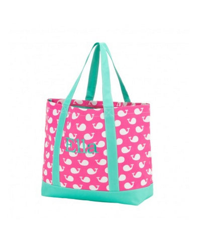 Pink & Mint Whale Print Large Tote Bag - Polyester Tote Bag With 2 Straps, Inside Zipper Pocket, Monogrammed Tote Bag, Personalized Tote Bag - Carolina Crafter Supply