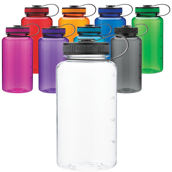 Wide Mouth Water Bottle - Set of 4 H2Go 34 Oz Wide Mouth Tritan Water Bottle, BPA-Free Plastic Single Wall Water Bottle With Wide Mouth & Screw On Lid