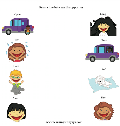opposites, preschool materials, speech therapy materials