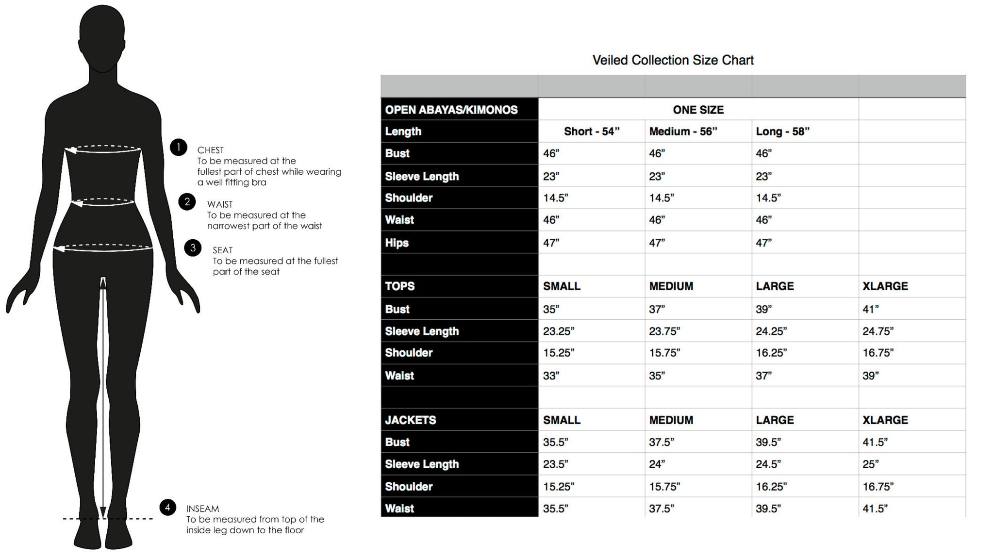 veiled collection size guide