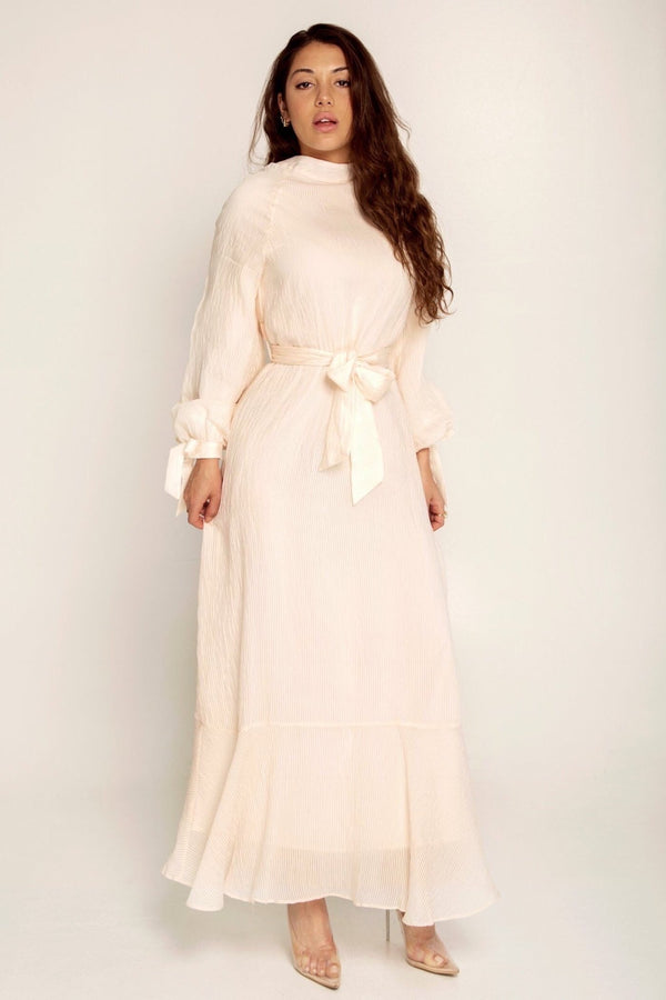 Abella Cream Pleat Maxi Dress
