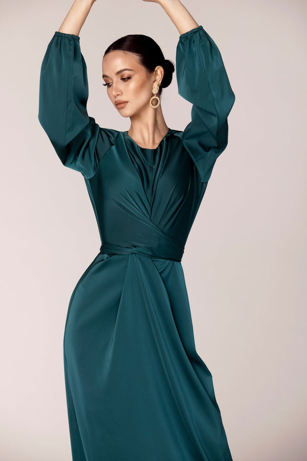 Alessandra Tie Waist Satin Maxi Dress - Dark Teal