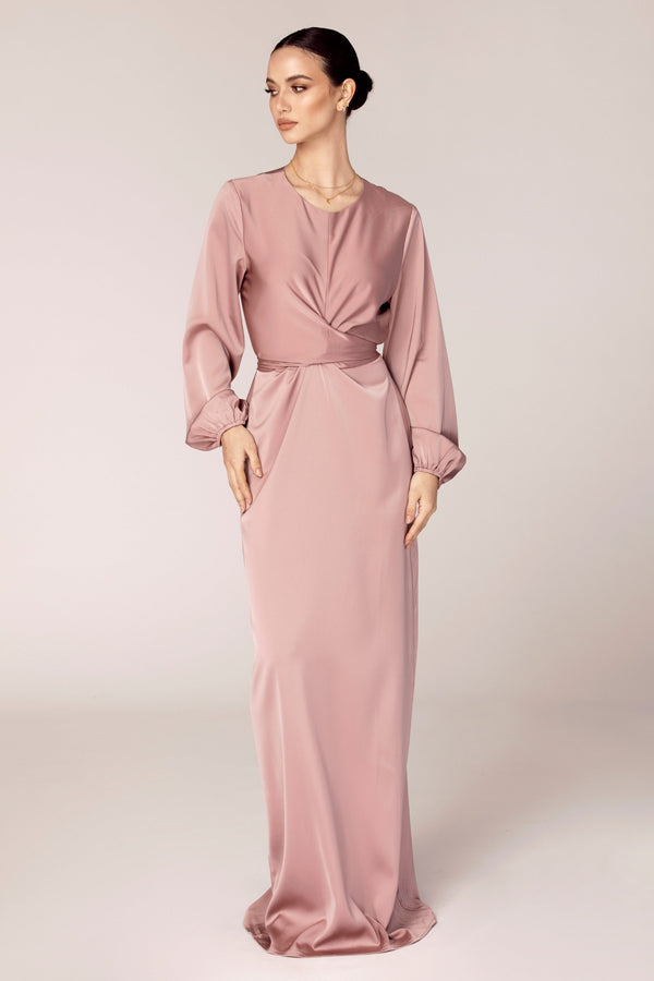 Alessandra Tie Waist Satin Maxi Dress - Dusty Rose