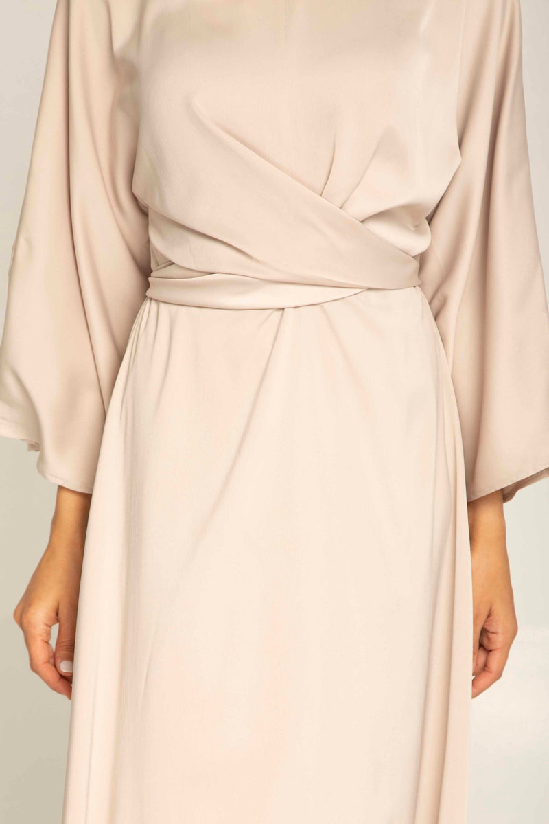 Alle Wrap Waist Maxi Dress - Light Nude