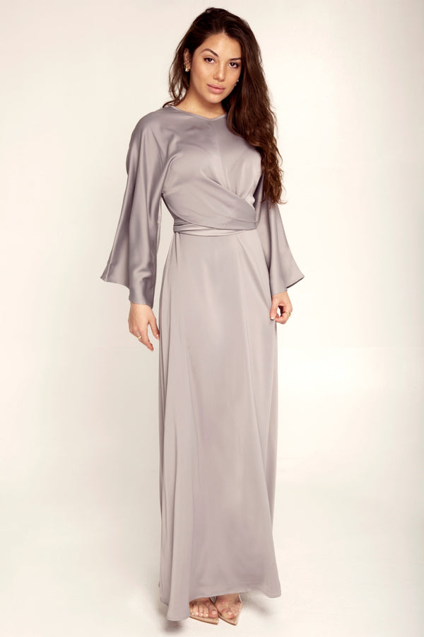 Alle Wrap Waist Maxi Dress - Slate Grey
