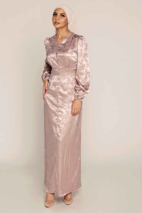 Ava Lavender Satin Maxi Dress