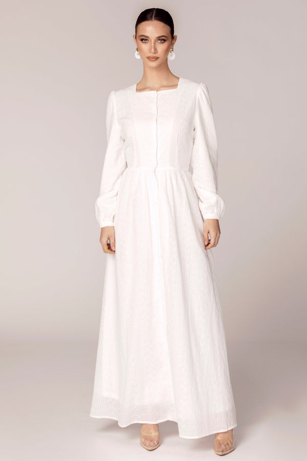 Aya Eyelet Cotton Button Front Maxi Dress